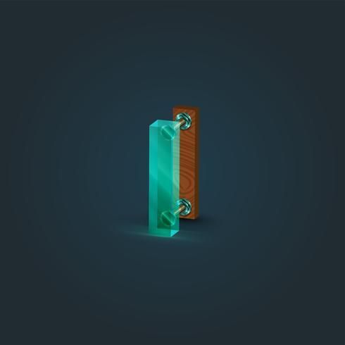 Realistisk trä och glas karaktär från en uppsättning, vektor illustration