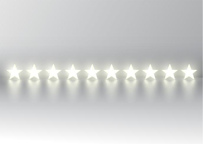 Bewertung mit zehn Sternen mit glühenden Sternen 3D, Vektorillustration