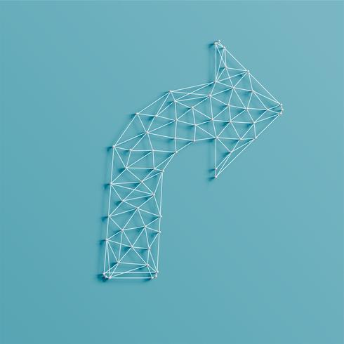 Uma flecha feita por linhas e pinos, 3D realista, ilustração vetorial