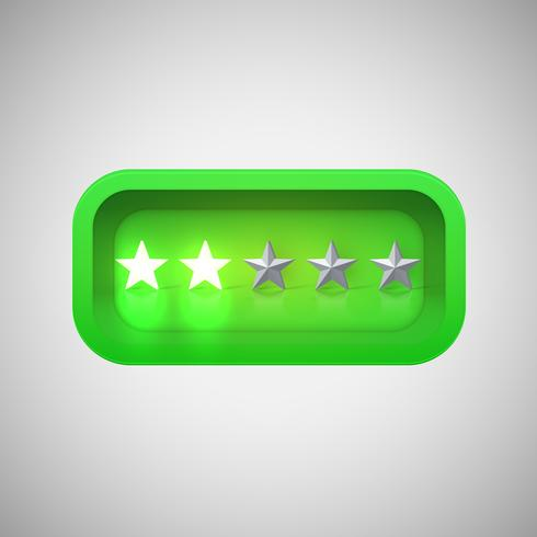 Glowing green star rating in a realistic shiny box, vector