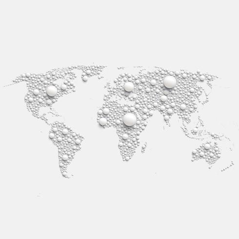 Färgglada världskarta gjord av bollar och linjer, vektor illustration