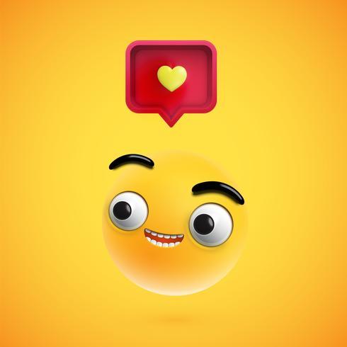Haut smiley détaillé avec signe de coeur 3D, illustration vectorielle