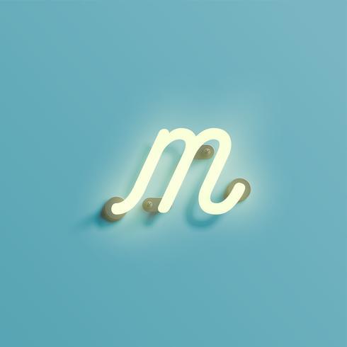 Carattere al neon realistico da un composto, vettore