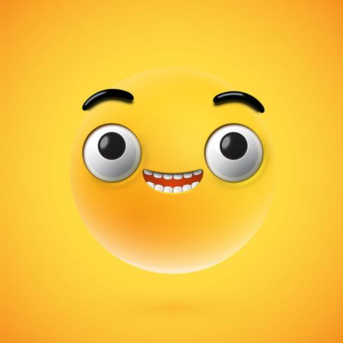 In hohem Grade ausführlicher glücklicher Emoticon, Vektorillustration