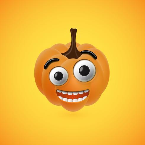 Fronte divertente della zucca di Halloween per i bambini, illustrazione di vettore