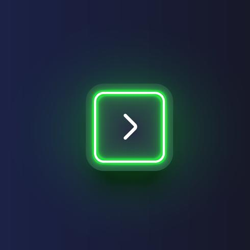 Colorful neon 'next' button with an arrow, vector illustration