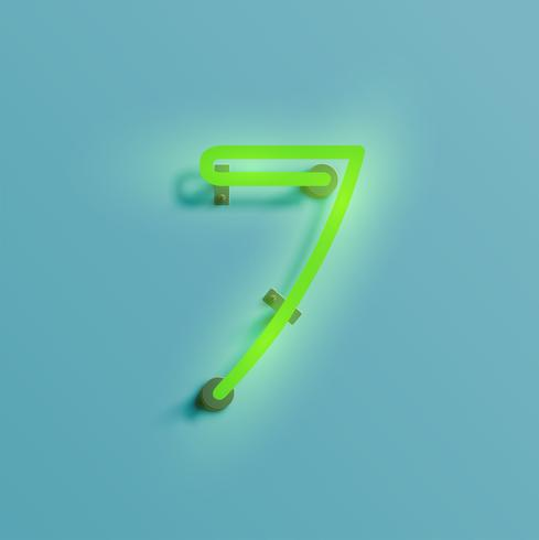 Realistische Neonfigur aus einem Schriftsatz, Vektor