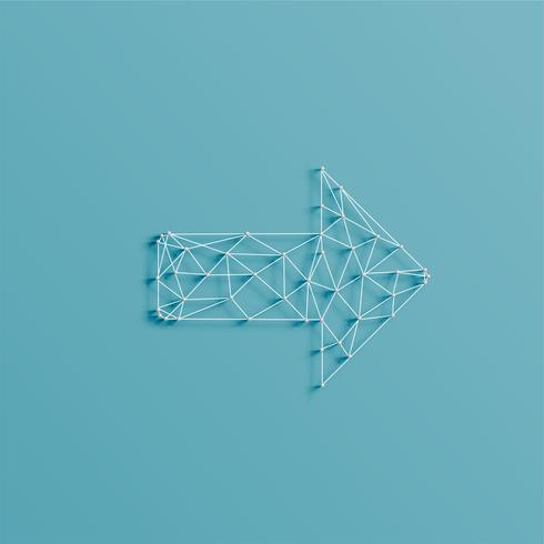 An arrow made by lines and pins, 3D realistic, vector illustration