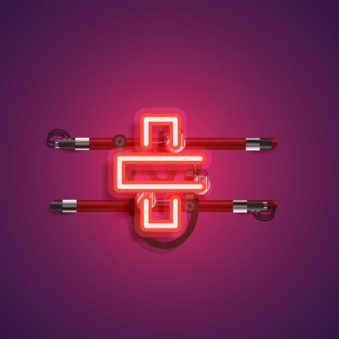 Realistischer Neoncharakter mit Drähten und Konsole, Vektorillustration
