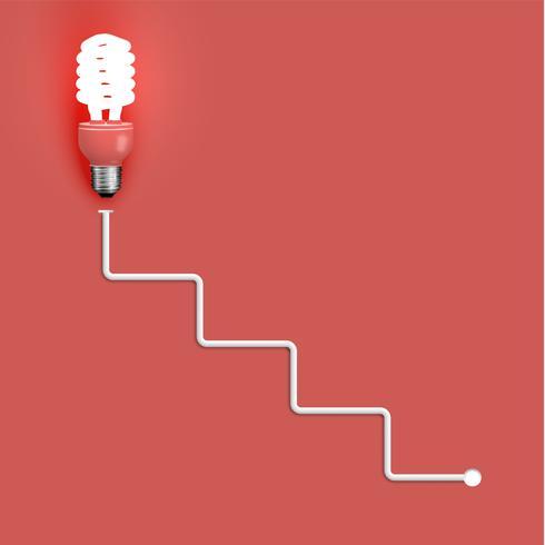 Bombilla de ahorro de energía con cables, ilustración vectorial
