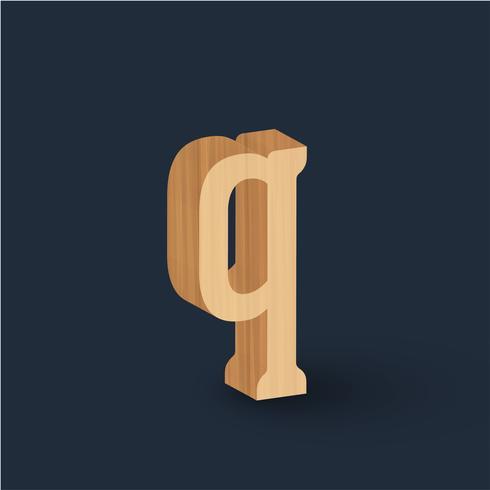 Carattere di carattere legno 3D, vettoriale