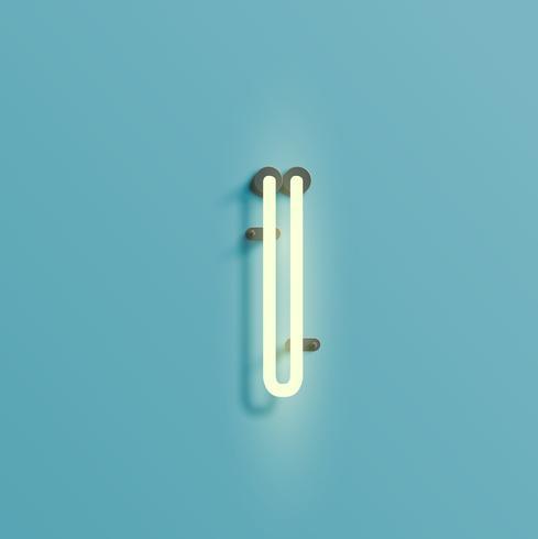 Realistischer Neoncharakter von einem fontset, Vektor