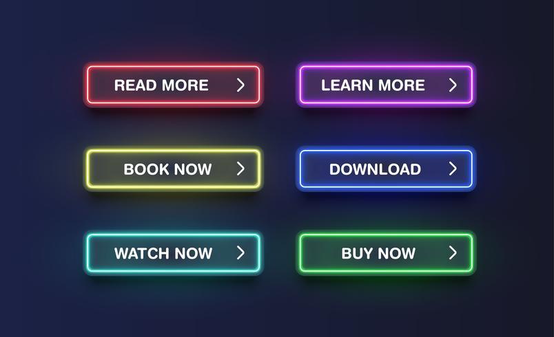 Kleurrijke neonknopen voor websites, vectorillustratie