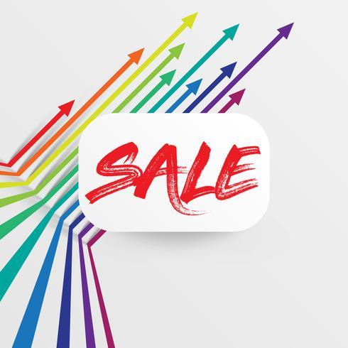 """Färgrik och ren mall med """"Sale"""" titel och pilar, vektor illustration"""