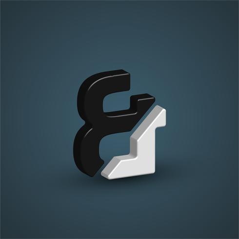 Personnage 3D en noir et blanc à partir d'un jeu de polices, illustration vectorielle