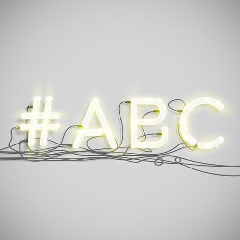 Neon hashtag woord, vectorillustratie