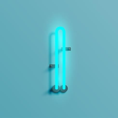 Realistic neon character from a typeset, vector