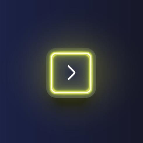 Bunter Neonknopf mit einem Pfeil, Vektorillustration