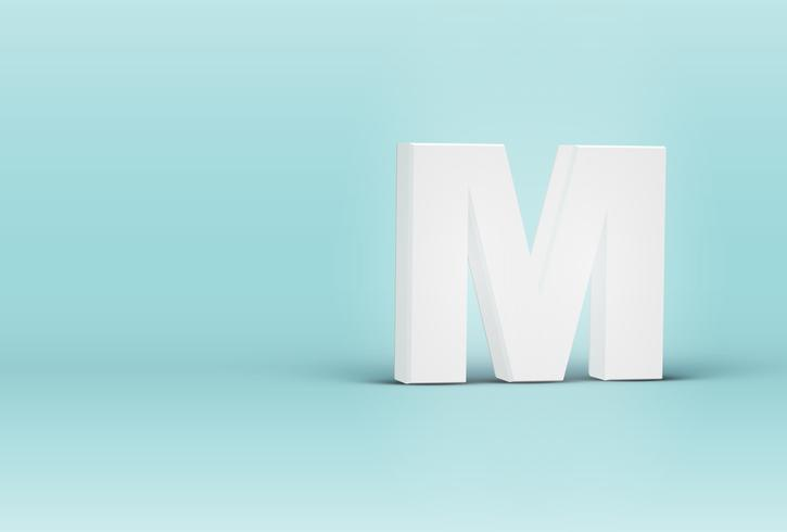 Hoog gedetailleerde 3D-lettertype brief, vectorillustratie