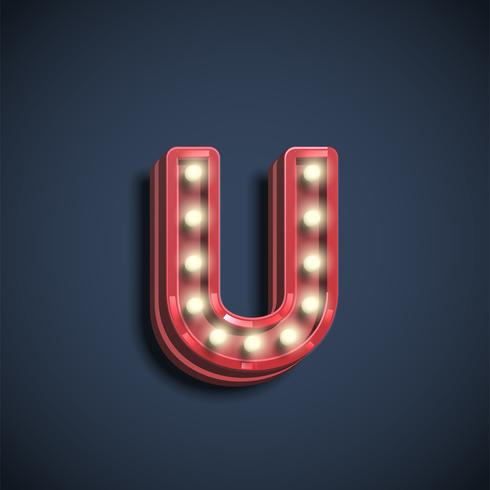 Realistic font character with lamps, vector illustration