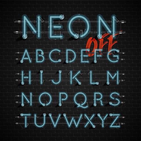 Jeu de polices néon détaillée haute, illustration vectorielle