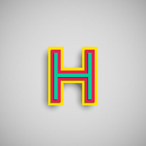 Colorful papercut character from a typeset, vector