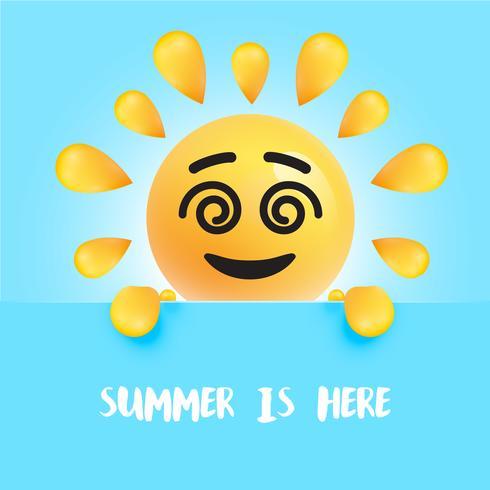 """Engraçado sol-smiley com o título """""""" o verão está aqui """", ilustração vetorial"""