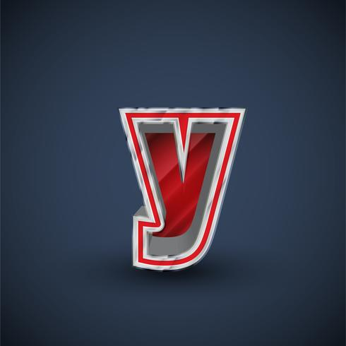 3D-rode stalen lettertype, vector