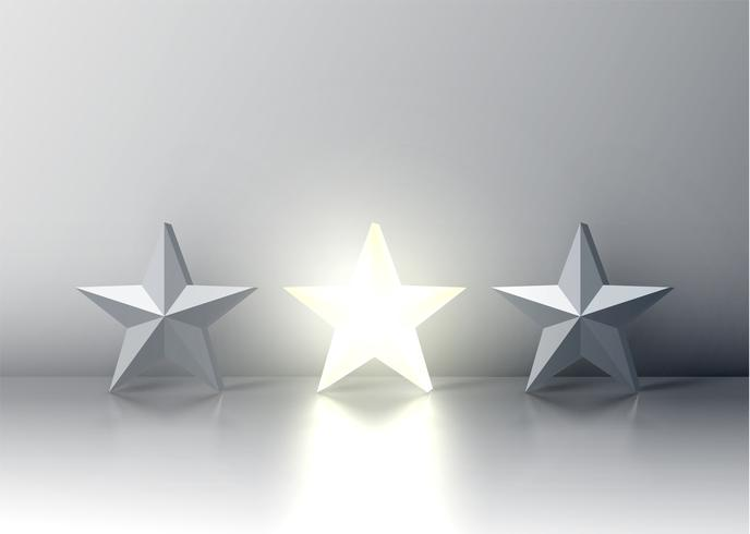 Stand out from the crowd glowing star among grey ones, vector illustration
