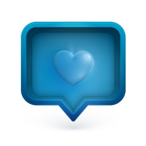 Corazón 3D en una burbuja de discurso, ilustración vectorial