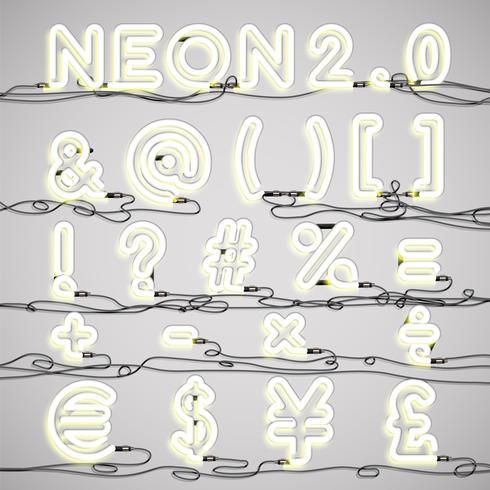 Alphabet néon réaliste avec des fils, illustration vectorielle