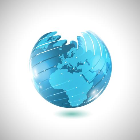 Blue globe ball, vector illustration