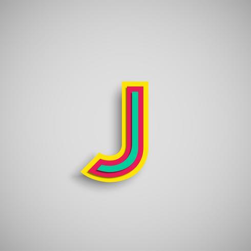 Personnage coloré de papercut à partir d'un type, vecteur