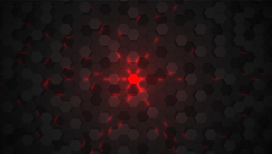 Fond de tech rouge hexagone 3D, illustration vectorielle