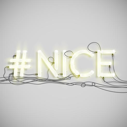 Palabra hashtag de neón, ilustración vectorial