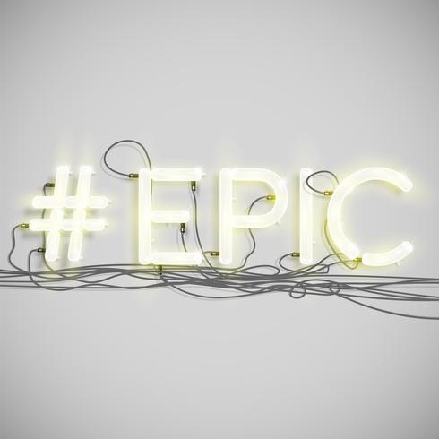 Neon hashtag word, vector illustration