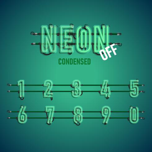 Carattere al neon realistico con fili e console, illustrazione vettoriale