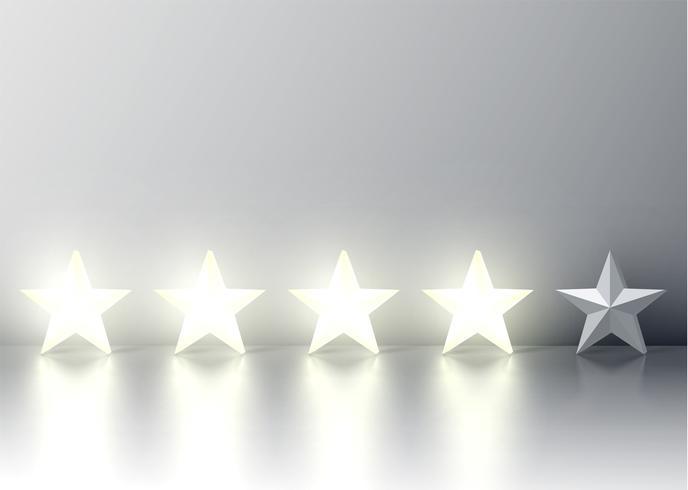 Clasificación de cuatro estrellas con estrellas 3D brillantes, ilustración vectorial