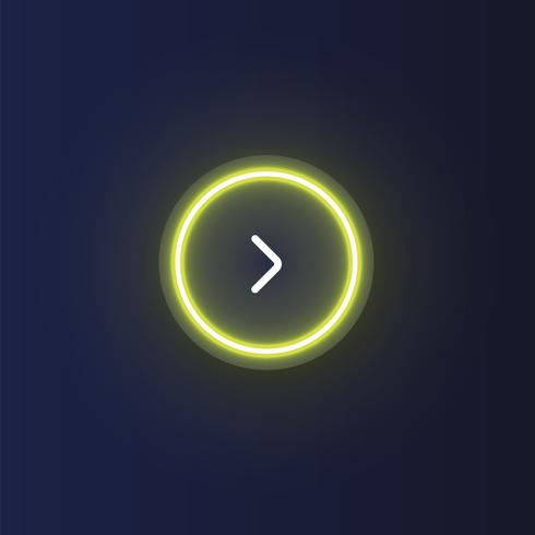 Kleurrijke neon 'volgende' knoop met een pijl, vectorillustratie