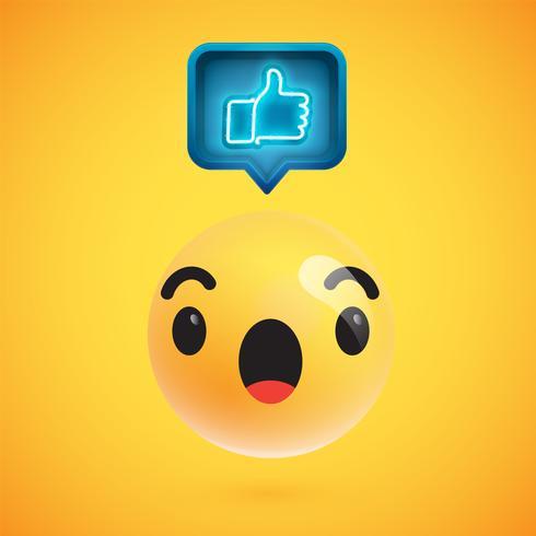 L'emoticon dettagliato alto con i pollici aumenta il segno, illustrazione di vettore