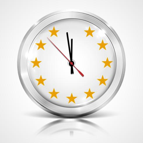 Illustration with clock for BREXIT - Great Britain leaving the EU, vector