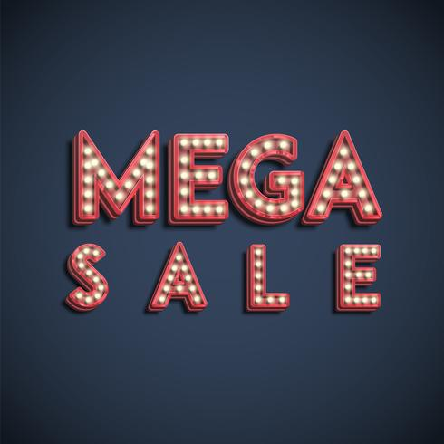 Fonti di lampada 'MEGA SALE' segno, illustrazione vettoriale