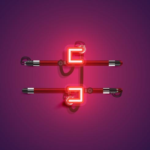 Personagem de néon realista com fios e console, ilustração vetorial