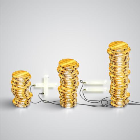 Monedas realistas, ilustración vectorial