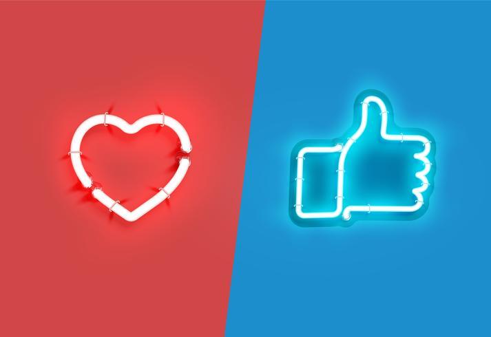Coração e polegares para cima sinais de néon, ilustração vetorial