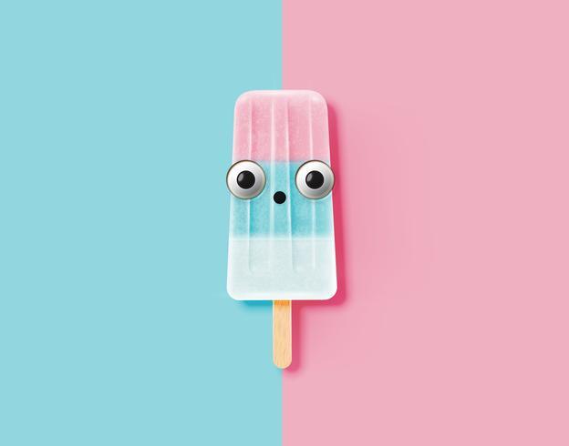 Lustiger Emoticon auf realistischer Eiscremeillustration, Vektorillustration