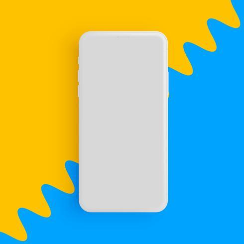 Realistisk matt grå telefon med färgstark bakgrund, vektor illustration
