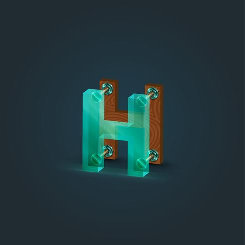 Realistisch hout en glaskarakter van een gezet, vectorillustratie
