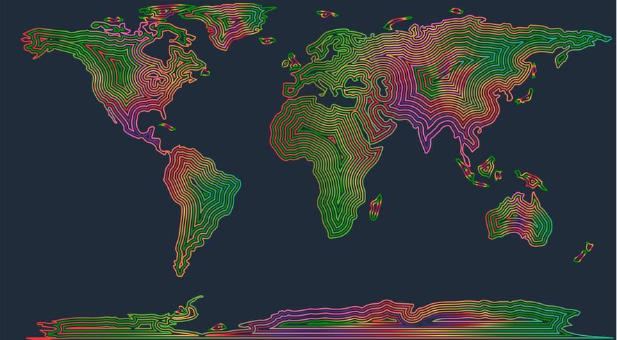 Mapa colorido del mundo, ilustración vectorial
