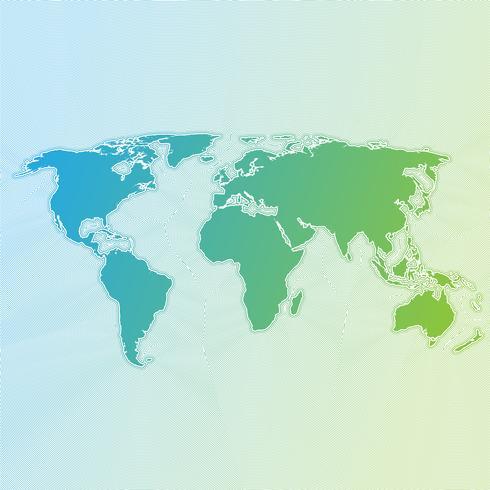 Mapa del mundo colorido hecho por bolas y líneas, ilustración vectorial
